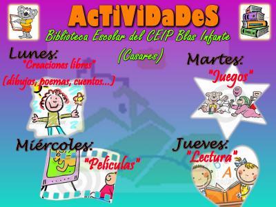 ¡¡¡Nuevas actividades en nuestra biblio!!!